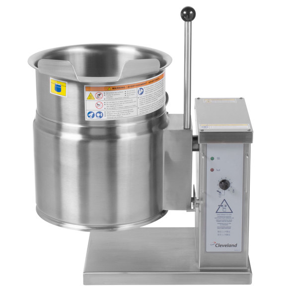Cleveland KET-6-T 6 Gallon Tilting 2/3 Steam Jacketed Electric Tabletop Kettle - 208/240V Main Image 1