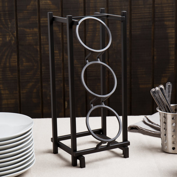 """Cal-Mil 1134-13 Black One By One Three Compartment Metal Silverware Holder - 7 1/2"""" x 6 1/2"""" x 17 3/4"""""""