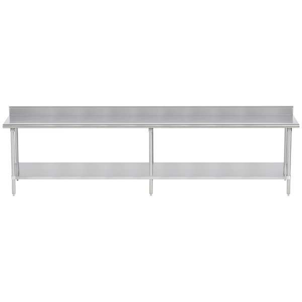 """Advance Tabco KSS-3011 30"""" x 132"""" 14 Gauge Work Table with Stainless Steel Undershelf and 5"""" Backsplash"""