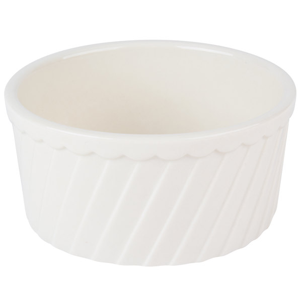 CAC RKF-24-S 24 oz. Bone White Fluted Souffle Bowl - 24/Case
