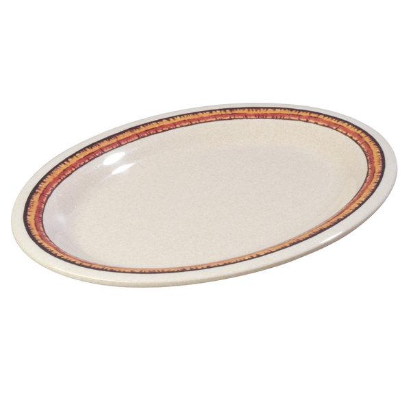 "Carlisle 43083908 Mosaic Durus 12"" Sierra Sand on Sand Oval Melamine Platter - 12/Case"