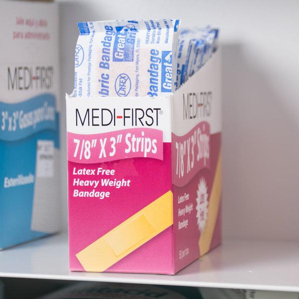 "Medique 61450 Medi-First 7/8"" x 3"" Woven Bandage Strip - 50/Box"