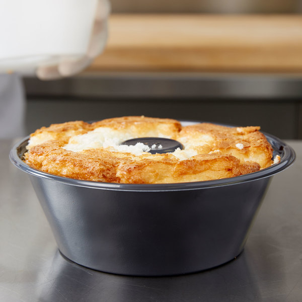 "Genpak 55SA08 Black 8"" Bake N' Show Smoothwall Angel Food Cake Pan - 200/Case"