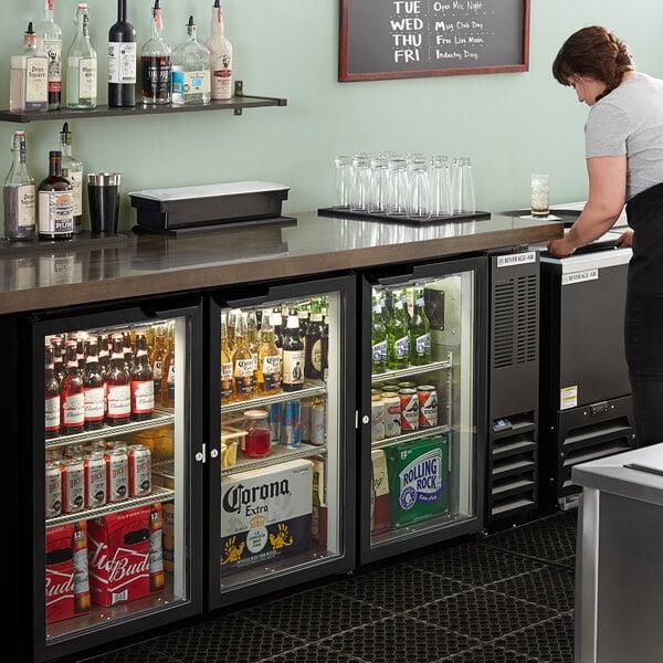 "Beverage-Air BB72HC-1-G-B 72"" Black Underbar Height Glass Door Back Bar Refrigerator Main Image 5"