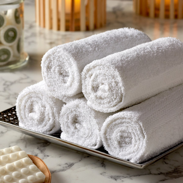 "Lavex Lodging Premium 16"" x 30"" 100% Ring Spun White Cotton Hand Towel 3.5 lb. - 12/Pack"