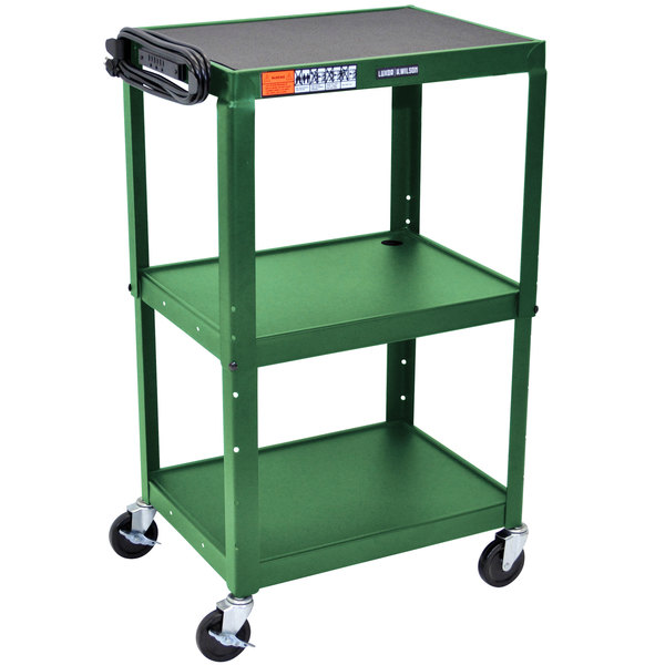 "Luxor AVJ42-GN Green 3 Shelf A/V Utility Cart 24"" x 18"" - Adjustable Height"