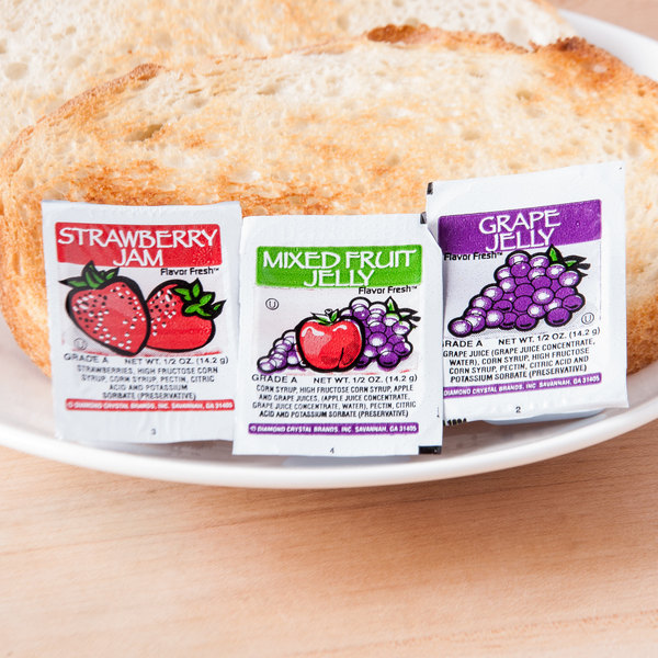 Grape, Strawberry, & Mixed Fruit Jelly .5 oz. Portion Cups - 200/Case