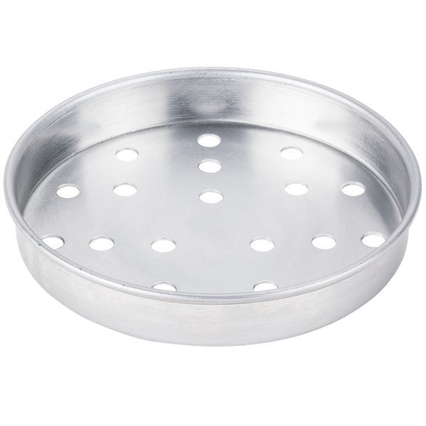 """American Metalcraft PA4007 7"""" Perforated Standard Weight Aluminum Straight Sided Pizza Pan"""