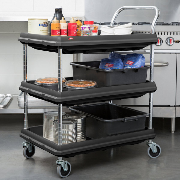 Metro BC2030 3DBL Black Utility Cart With Three Deep Ledge Shelves   32  3/4