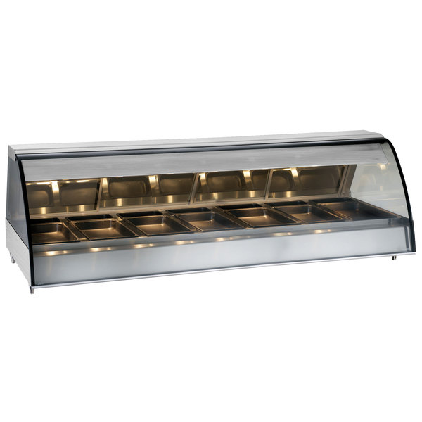 "Alto-Shaam TY2-96 SS Stainless Steel Countertop Heated Display Case with Curved Glass - Full Service 96"" Main Image 1"