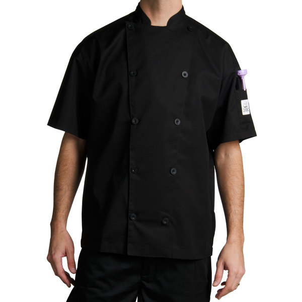 Chef Revival Gold J045BK-L Chef-Tex Size 46 (L) Black Customizable Poly-Cotton Traditional Short Sleeve Chef Jacket