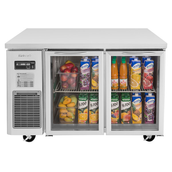"""Turbo Air JUR-48-G J Series 48"""" Glass Door Undercounter Refrigerator with Side Mounted Compressor"""