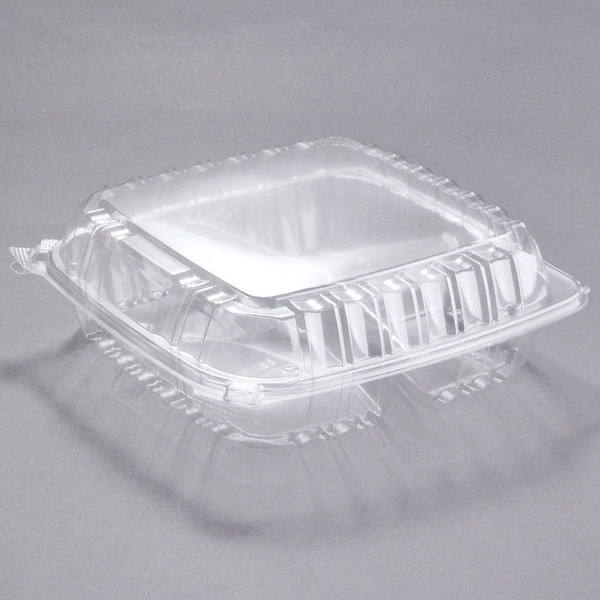 Dart C95PST3 9 1/2 inch x 9 1/2 inch x 3 1/4 inch ClearSeal 3 Compartment Hinged Lid Plastic Container - 200/Case