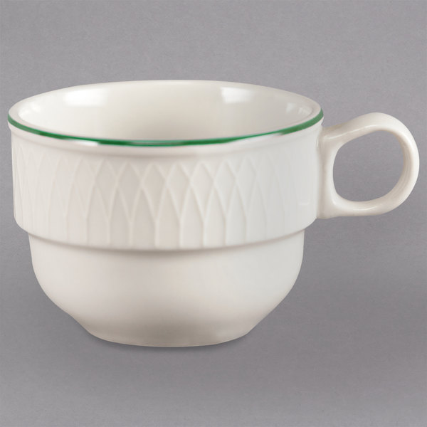 Homer Laughlin 1430-0314 Green Jade Gothic Off White 7.5 oz. Stacking Cup - 36/Case Main Image 1
