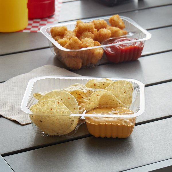 Carnival King Clear 2 Compartment Plastic Nacho Tray - 125/Pack Main Image 2