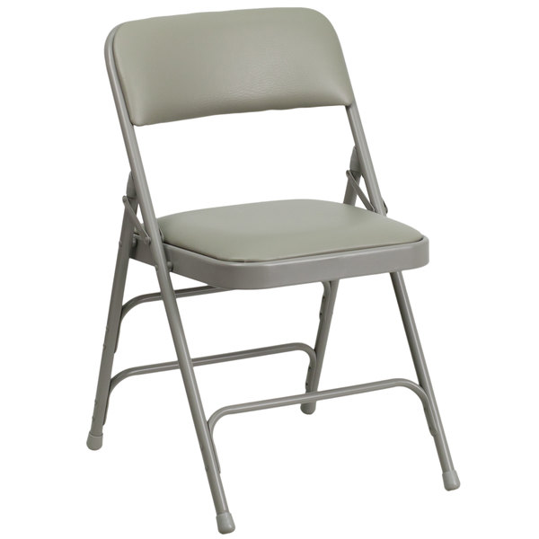 "Flash Furniture HA-MC309AV-GY-GG Gray Metal Folding Chair with 1"" Padded Vinyl Seat"