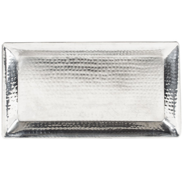 """American Metalcraft HMRT814 14"""" x 7"""" Rectangle Hammered Stainless Steel Tray"""