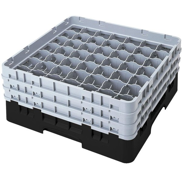 "Cambro 49S1114110 Black Camrack Customizable 49 Compartment 11 3/4"" Glass Rack"