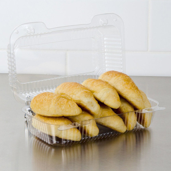 """Dart PET35UT1 StayLock 9"""" x 5 3/8"""" x 3 1/2"""" Clear Hinged PET Plastic 9"""" Medium Oblong Container - 250/Case"""