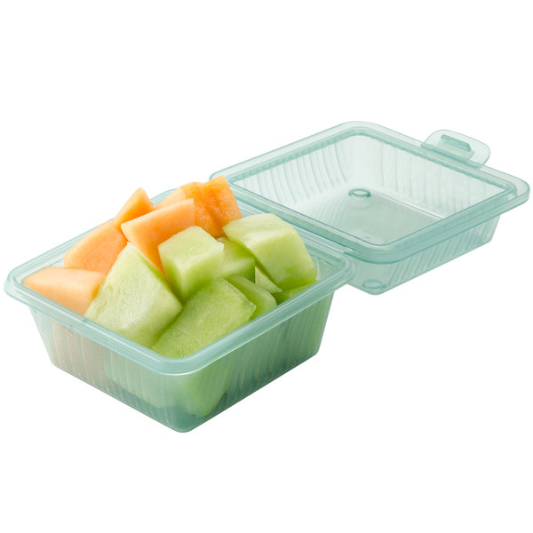 """GET EC-08 4 3/4"""" x 4 3/4"""" x 3 1/4"""" Jade Green Customizable Reusable Eco-Takeouts Container - 24/Case Main Image 4"""