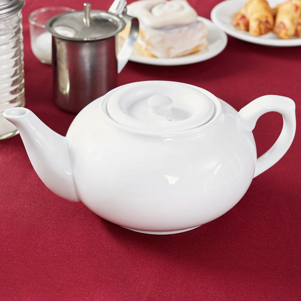 Core 32 oz. White China Teapot with Sunken Lid