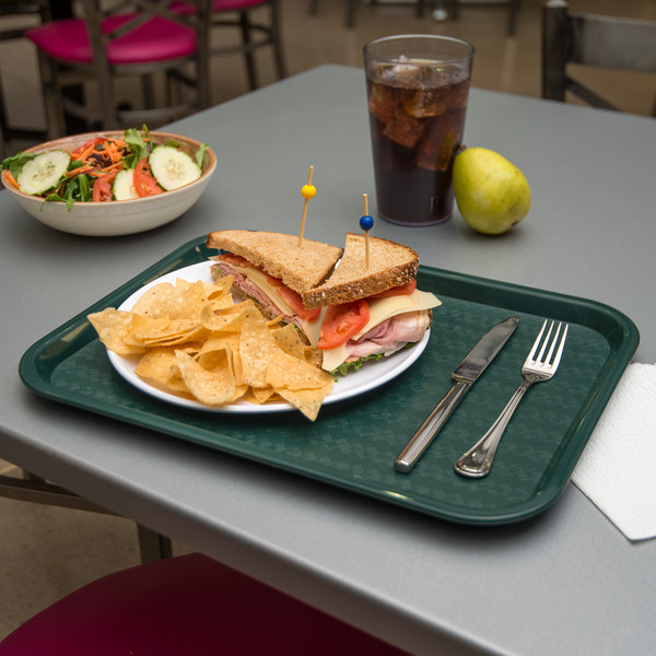 """Carlisle CT121608 Cafe 12"""" x 16"""" Forest Green Standard Plastic Fast Food Tray"""