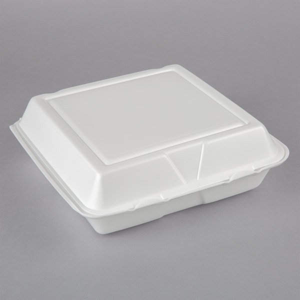 Dart 95HT3R 9 1/2 inch x 9 inch x 3 inch White Foam Three-Compartment Square Take Out Container with Hinged Lid - 200/Case