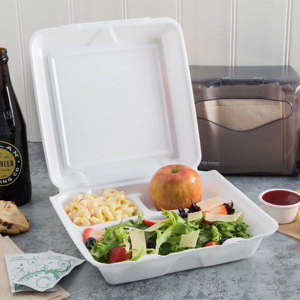 """Dart 95HT3R 9 1/2"""" x 9"""" x 3"""" White Foam Three-Compartment Square Take Out Container with Hinged Lid - 200/Case Main Image 3"""