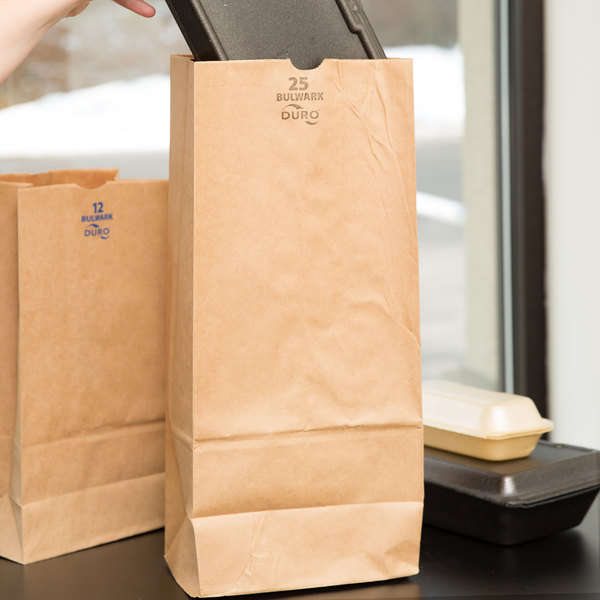 Duro Bulwark Extra Heavy-Duty 25 lb. Brown Paper Bag - 500/Bundle