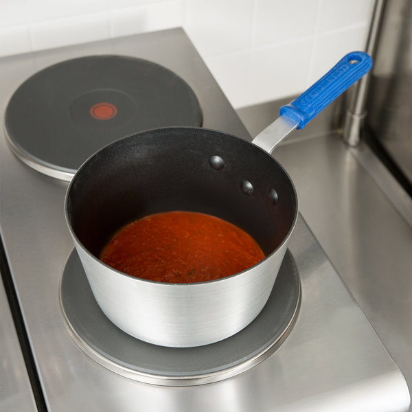 Vollrath Z434212 Wear-Ever 2.75 Qt. Tapered Aluminum Sauce Pan with SteelCoat x3 Non-Stick Interior and Cool Handle Main Image 2