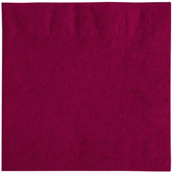 Choice 10 inch x 10 inch Burgundy 2- Ply Beverage / Cocktail Napkins - 250 / Pack