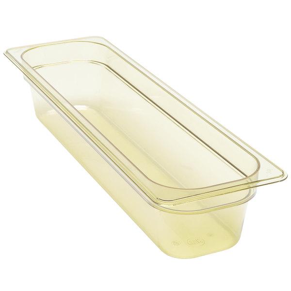"""Cambro 24LPHP150 H-Pan 1/2 Size Long Amber High Heat Food Pan - 4"""" Deep"""