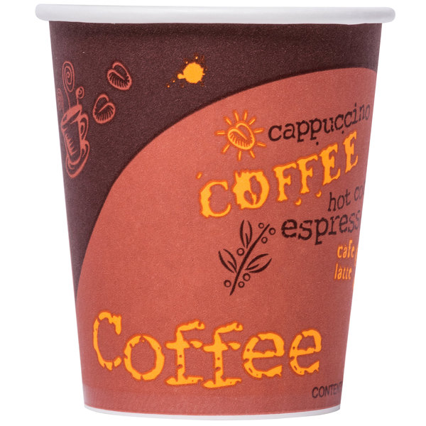 Choice 10 oz. Coffee Print Poly Paper Hot Cup - 50/Pack