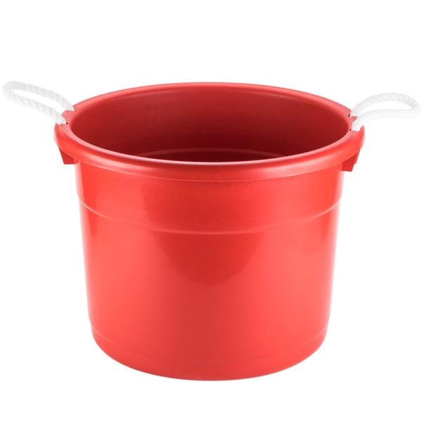 Continental 8119RD Huskee 19 Gallon Red Tub with Rope Handles