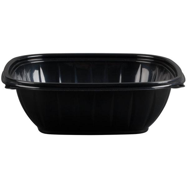 Dart Solo B48SB PresentaBowls Pro 48 oz. Black Square Plastic Bowl - 252/Case