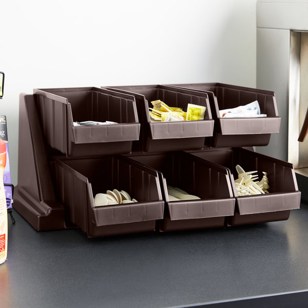 """Cambro 6RS6131 Dark Brown Versa Self Serve Condiment Bin Stand Set with 2-Tier Stand and 12"""" Condiment Bins"""