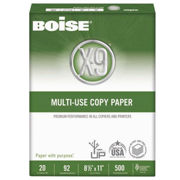 "Boise OX9001 X9 8 1/2"" x 11"" White 20# Multi-Use Copy Paper Case - 5000 Sheets"