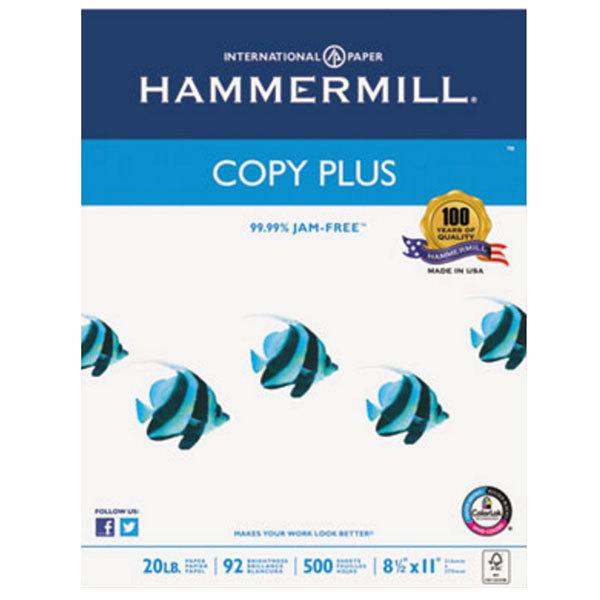 "Hammermill 105007 8 1/2"" x 11"" Copy Plus White Case of 20# Copy Paper - 5000 Sheets"