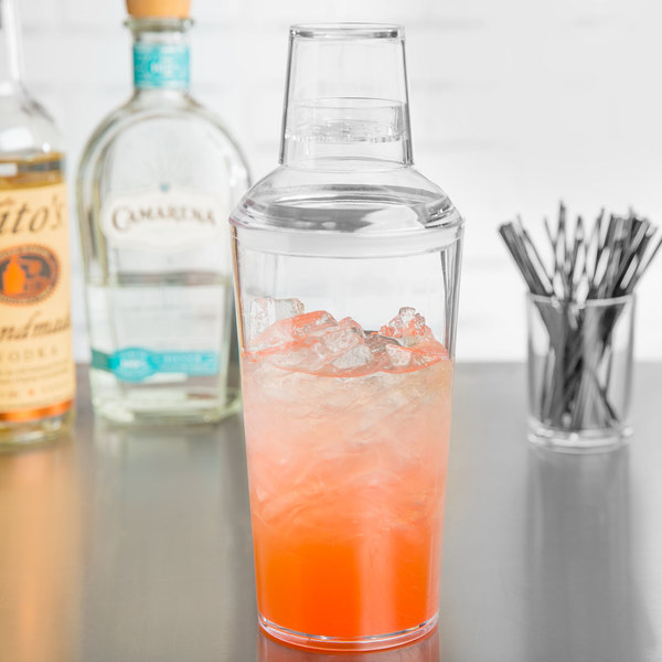 Tablecraft PS378 27 oz. Clear Plastic Cocktail Shaker