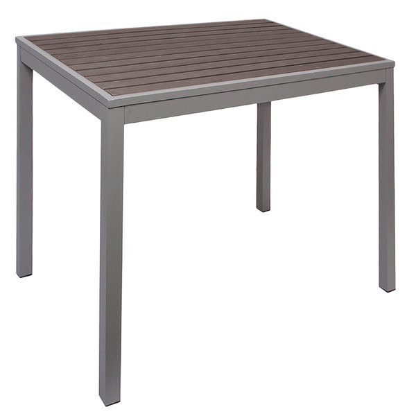 "BFM Seating PH4L3535GRSG Seaside 35"" Square Soft Gray Metal Bolt-Down Standard Height Table with Gray Synthetic Teak Top Main Image 1"