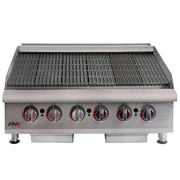 "APW Wyott HCRB-2436i Natural Gas 36"" HD Cookline Lava Rock Charbroiler - 120,000 BTU"