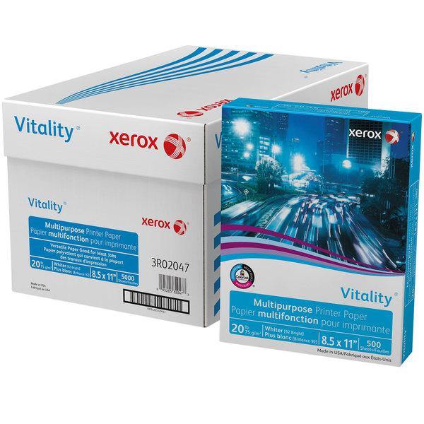 "Xerox 3R02047 Vitality 8 1/2"" x 11"" White Case of 20# Multipurpose Printer Paper - 5000 Sheets Main Image 1"