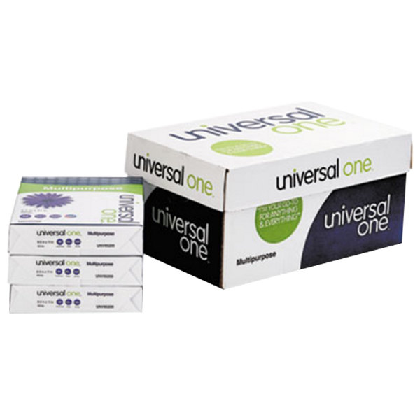 "Universal Office UNV95200 8 1/2"" x 11"" White Case of 20# Multipurpose Paper - 5000 Sheets"