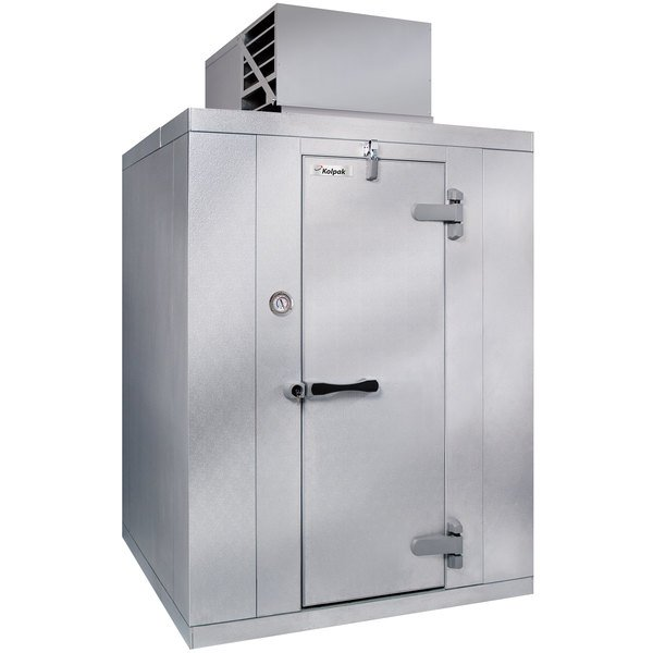 Right Hinged Door Kolpak QSX7-128-CT Polar Pak 12' x 8' x 7' Floorless Indoor Walk-In Cooler with Top Mounted Refrigeration