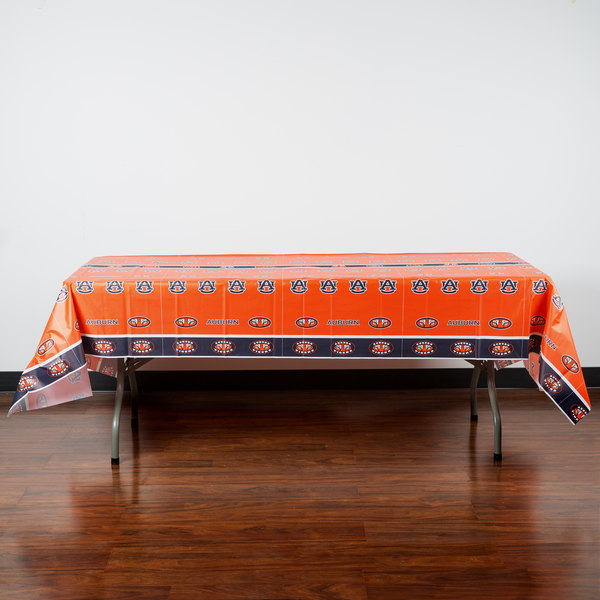 "Creative Converting 724830 54"" x 108"" Auburn University Plastic Table Cover - 12/Case"