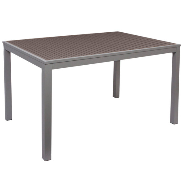 """BFM Seating PH4L3572GRSGT Seaside 35"""" x 72"""" Soft Gray Metal Bolt-Down Bar Height Table with Gray Synthetic Teak Top"""
