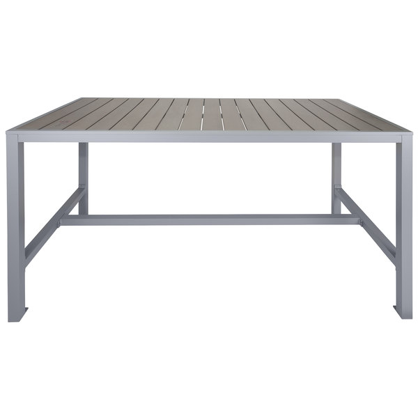 """BFM Seating PH4L3572GRSGT Seaside 35"""" x 72"""" Soft Gray Metal Bolt-Down Bar Height Table with Gray Synthetic Teak Top Main Image 1"""