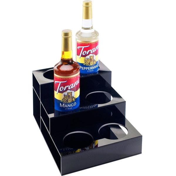 "Cal-Mil 677 Black Acrylic 3 Tier Bottle Organizer - 9 1/2"" x 12 3/4"" x 6 1/2"""