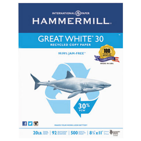"""Hammermill 86700 8 1/2"""" x 11"""" White Case of 20# Recycled Copy Paper - 5000 Sheets"""