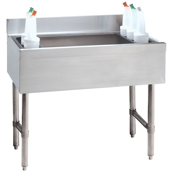"Advance Tabco CRI-12-48-10 Stainless Steel Underbar Ice Bin with 10-Circuit Cold Plate - 48"" x 21"" Main Image 1"
